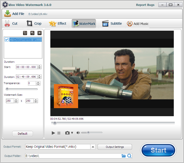 how to add watermark to MKV